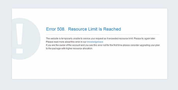 error 500 Resource limit is reached